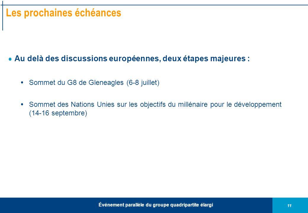 11 Événement parallèle du groupe quadripartite élargi Les prochaines échéances Au delà des discussions européennes, deux étapes majeures : Sommet du G8 de Gleneagles (6-8 juillet) Sommet des Nations Unies sur les objectifs du millénaire pour le développement (14-16 septembre)