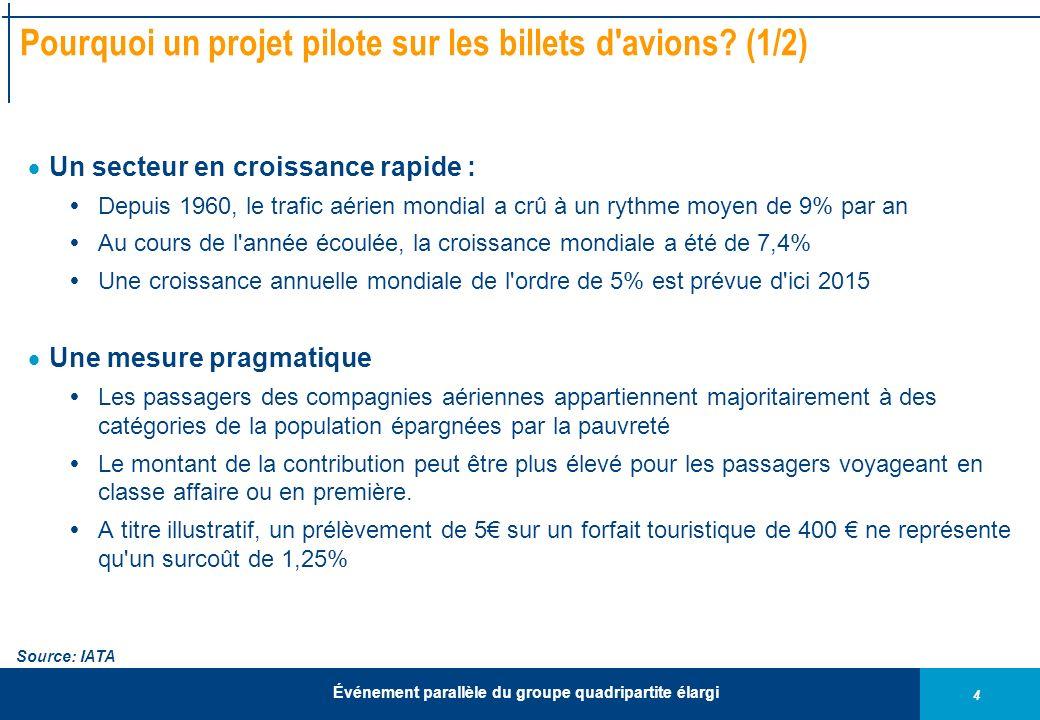 4 Événement parallèle du groupe quadripartite élargi Pourquoi un projet pilote sur les billets d'avions? (1/2) Un secteur en croissance rapide : Depui