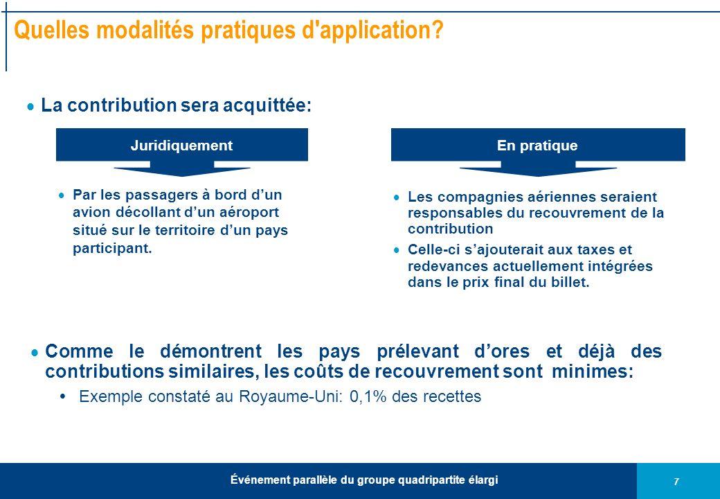 7 Événement parallèle du groupe quadripartite élargi Quelles modalités pratiques d application.