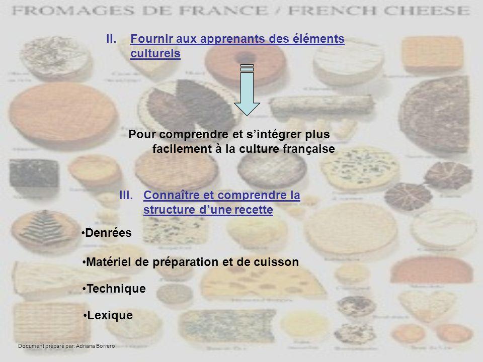 III.Connaître et comprendre la structure dune recette Denrées Matériel de préparation et de cuisson Technique II.Fournir aux apprenants des éléments c