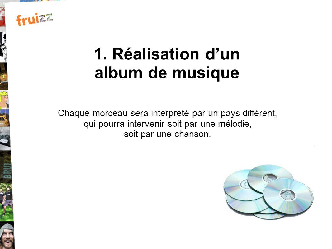 1. Réalisation dun album de musique Chaque morceau sera interprété par un pays différent, qui pourra intervenir soit par une mélodie, soit par une cha