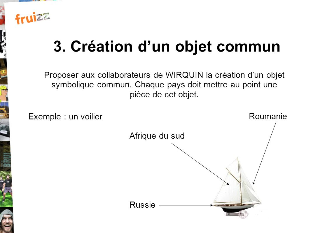 3. Création dun objet commun Proposer aux collaborateurs de WIRQUIN la création dun objet symbolique commun. Chaque pays doit mettre au point une pièc