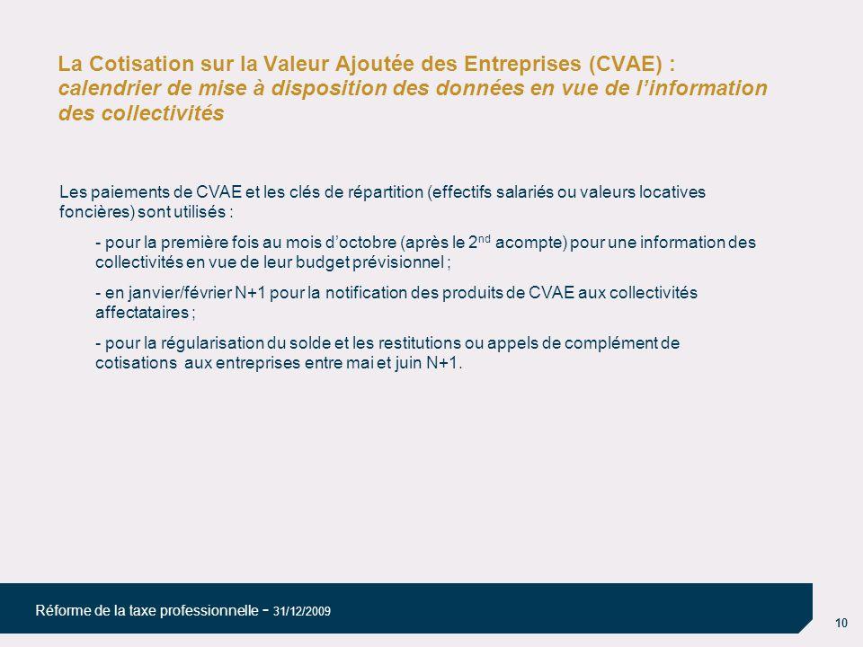 10 Réforme de la taxe professionnelle - 31/12/2009 La Cotisation sur la Valeur Ajoutée des Entreprises (CVAE) : calendrier de mise à disposition des d
