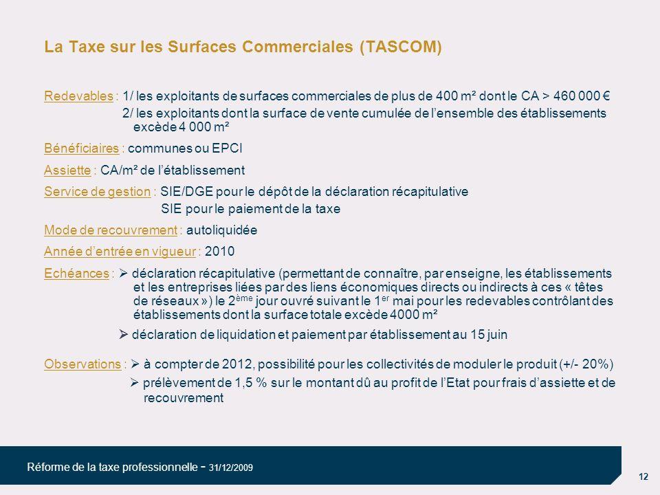 12 Réforme de la taxe professionnelle - 31/12/2009 La Taxe sur les Surfaces Commerciales (TASCOM) Redevables : 1/ les exploitants de surfaces commerci