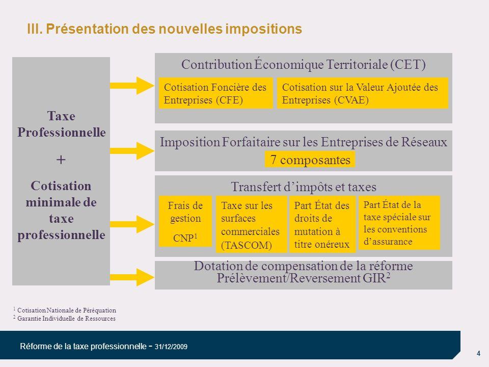 4 Réforme de la taxe professionnelle - 31/12/2009 III. Présentation des nouvelles impositions Taxe Professionnelle + Cotisation minimale de taxe profe