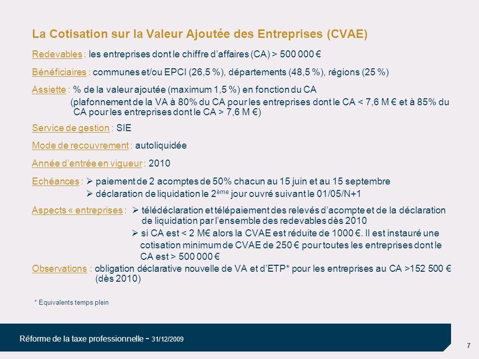 7 Réforme de la taxe professionnelle - 31/12/2009 La Cotisation sur la Valeur Ajoutée des Entreprises (CVAE) Redevables : les entreprises dont le chif