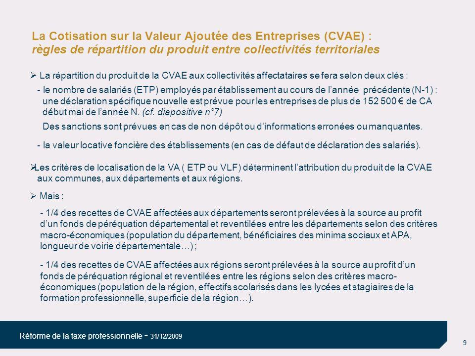 9 Réforme de la taxe professionnelle - 31/12/2009 La Cotisation sur la Valeur Ajoutée des Entreprises (CVAE) : règles de répartition du produit entre