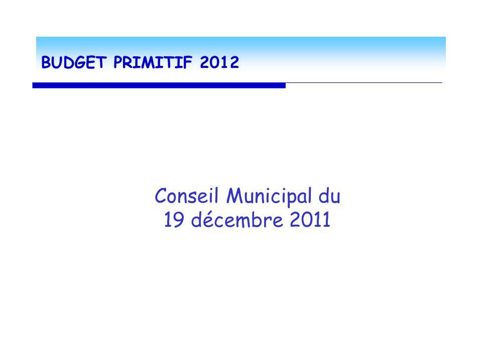 BUDGET PRIMITIF 2012 Conseil Municipal du 19 décembre 2011