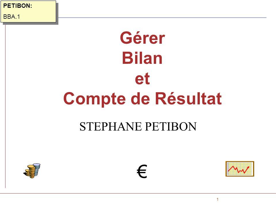 1 Gérer Bilan et Compte de Résultat STEPHANE PETIBON PETIBON: BBA.1 PETIBON: BBA.1
