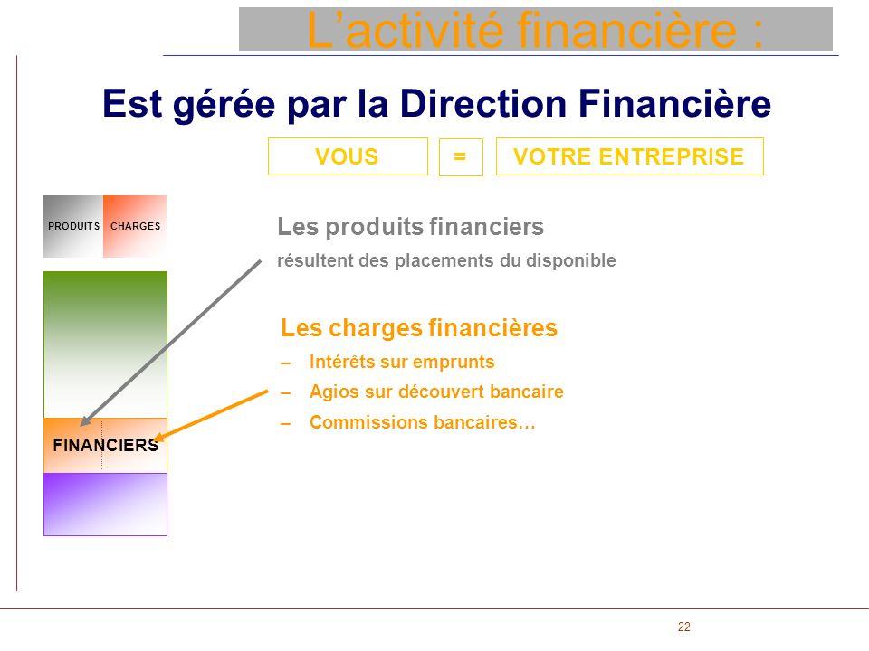 22 Lactivité financière : Est gérée par la Direction Financière CHARGESPRODUITS FINANCIERS Les produits financiers résultent des placements du disponi