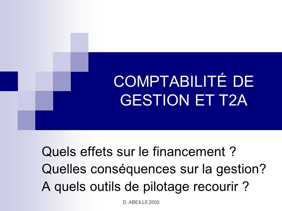 D.ABEILLE 2005 COMPTABILITÉ DE GESTION ET T2A Quels effets sur le financement .