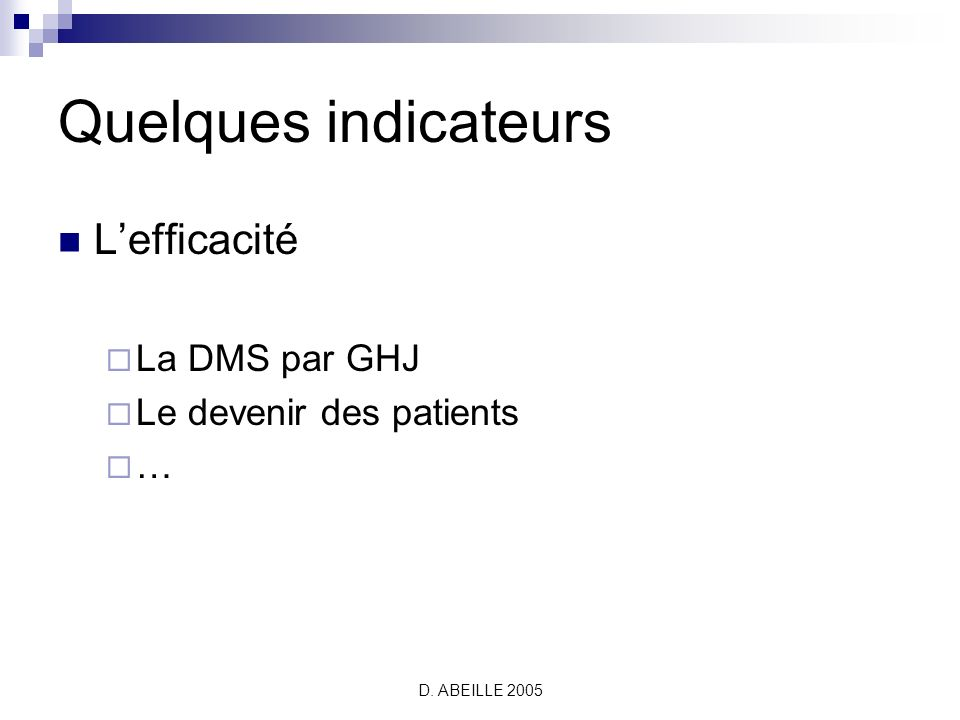 D. ABEILLE 2005 Quelques indicateurs Lefficacité La DMS par GHJ Le devenir des patients …
