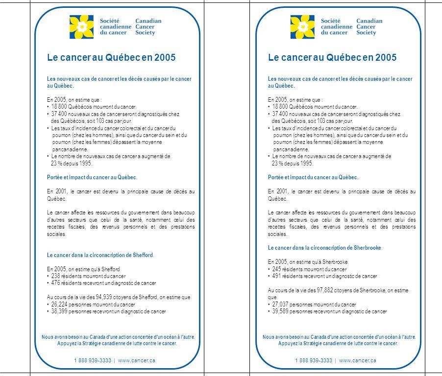 1 888 939-3333 | www.cancer.ca Les nouveaux cas de cancer et les décès causés par le cancer au Québec.