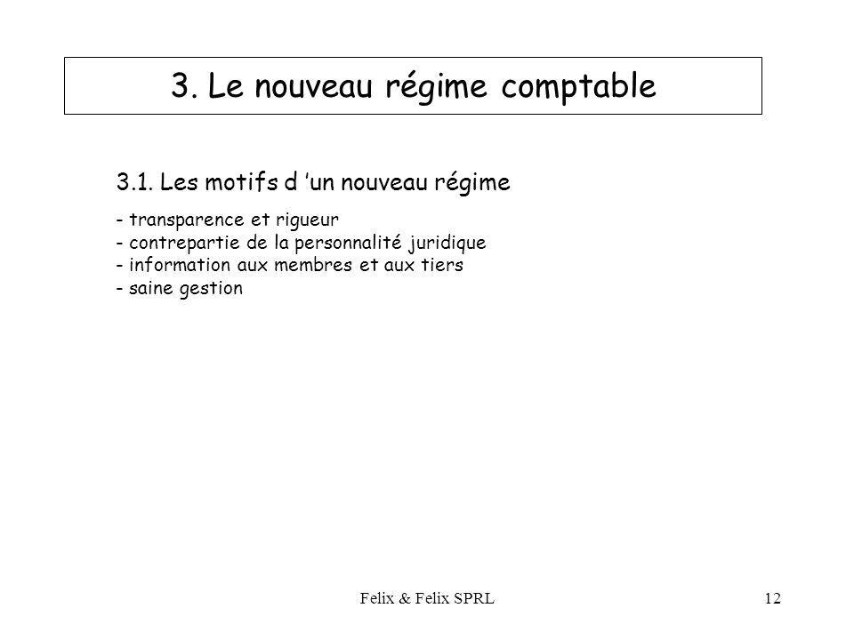 Felix & Felix SPRL12 3. Le nouveau régime comptable 3.1.
