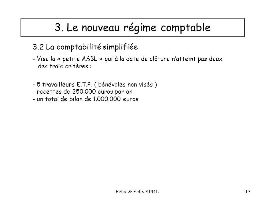 Felix & Felix SPRL13 3.2 La comptabilité simplifiée - Vise la « petite ASBL » qui à la date de clôture natteint pas deux des trois critères : - 5 travailleurs E.T.P.
