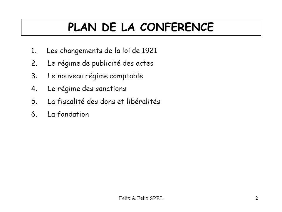 Felix & Felix SPRL2 PLAN DE LA CONFERENCE 1. Les changements de la loi de 1921 2.