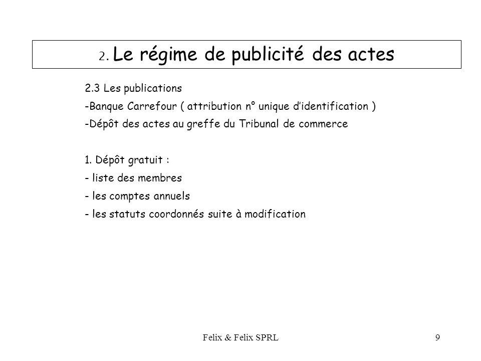 Felix & Felix SPRL9 2.3 Les publications -Banque Carrefour ( attribution n° unique didentification ) -Dépôt des actes au greffe du Tribunal de commerce 1.
