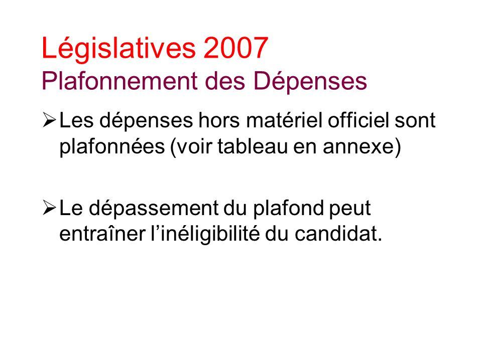 Législatives 2007 Plafonnement des Dépenses Les dépenses hors matériel officiel sont plafonnées (voir tableau en annexe) Le dépassement du plafond peut entraîner linéligibilité du candidat.