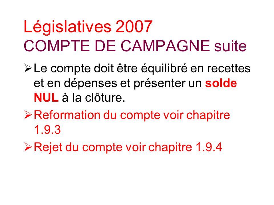 Législatives 2007 COMPTE DE CAMPAGNE suite Le compte doit être équilibré en recettes et en dépenses et présenter un solde NUL à la clôture.