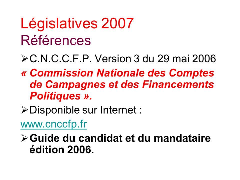 Législatives 2007 Références C.N.C.C.F.P.