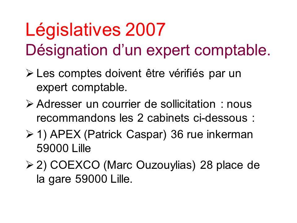 Législatives 2007 Désignation dun expert comptable.