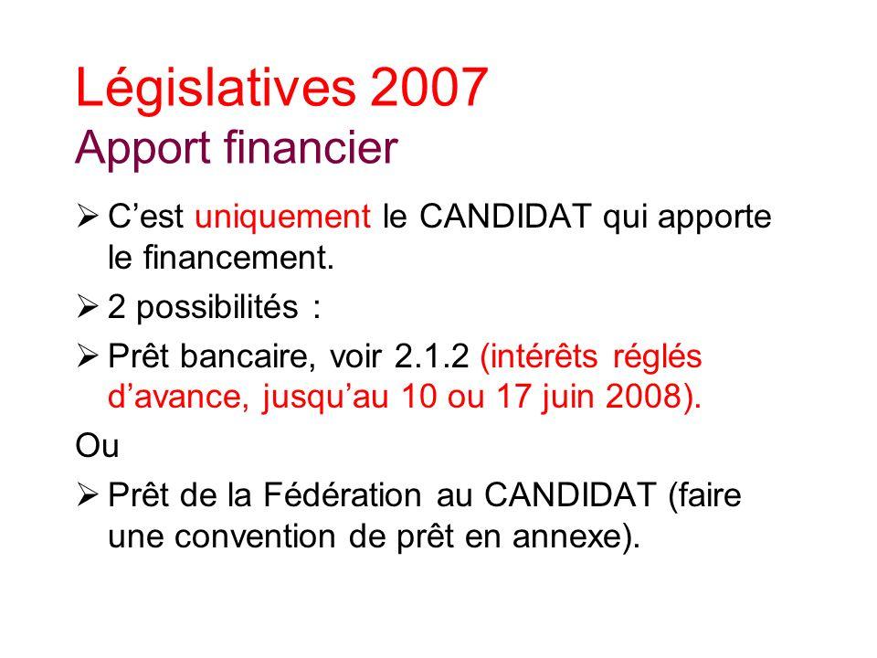 Législatives 2007 Apport financier Cest uniquement le CANDIDAT qui apporte le financement.