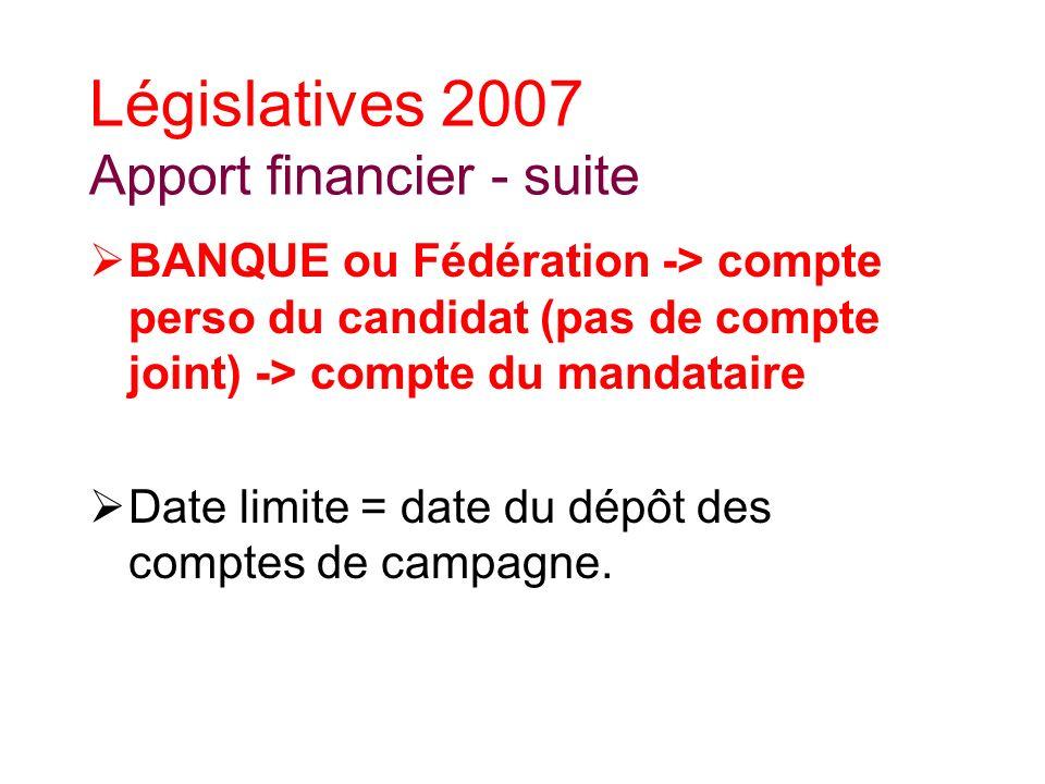 Législatives 2007 Apport financier - suite BANQUE ou Fédération -> compte perso du candidat (pas de compte joint) -> compte du mandataire Date limite = date du dépôt des comptes de campagne.