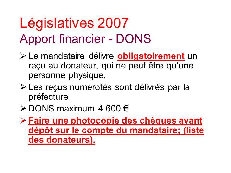 Législatives 2007 Apport financier - DONS Le mandataire délivre obligatoirement un reçu au donateur, qui ne peut être quune personne physique.