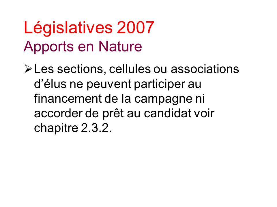 Législatives 2007 Apports en Nature Les sections, cellules ou associations délus ne peuvent participer au financement de la campagne ni accorder de prêt au candidat voir chapitre 2.3.2.