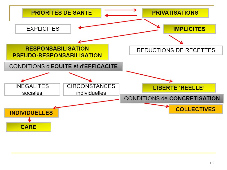 18 INDIVIDUELLES COLLECTIVES CARE LIBERTE REELLE INEGALITES sociales CIRCONSTANCES individuelles RESPONSABILISATION PSEUDO-RESPONSABILISATION IMPLICITES EXPLICITES PRIORITES DE SANTEPRIVATISATIONS CONDITIONS dEQUITE et dEFFICACITE CONDITIONS de CONCRETISATION REDUCTIONS DE RECETTES