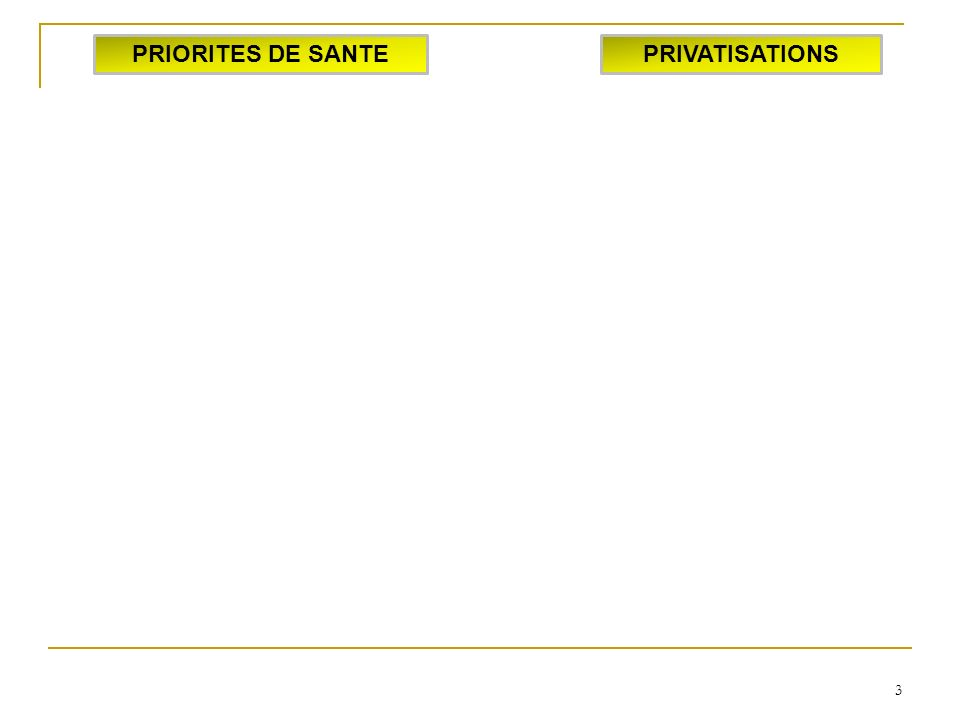 3 PRIORITES DE SANTEPRIVATISATIONS