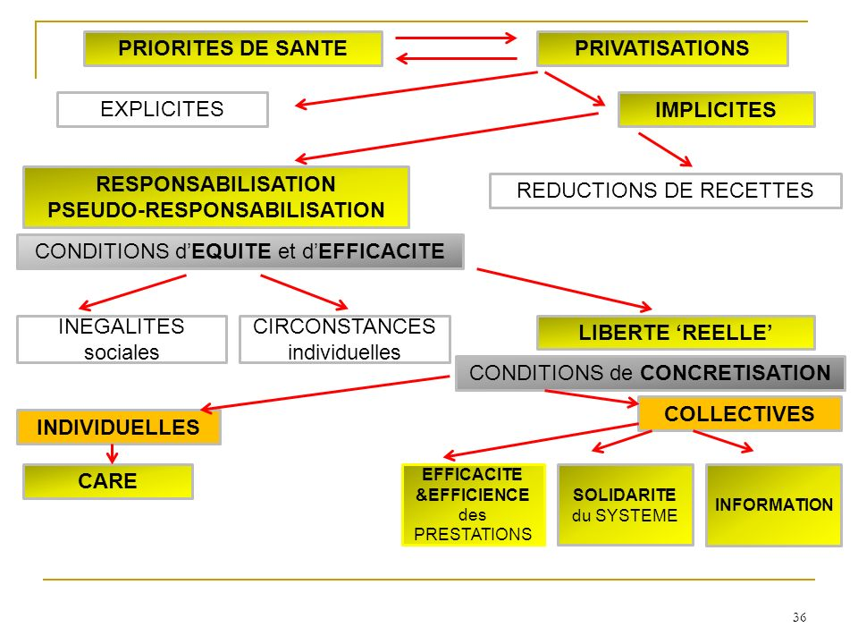36 INDIVIDUELLES COLLECTIVES SOLIDARITE du SYSTEME INFORMATION CARE LIBERTE REELLE INEGALITES sociales CIRCONSTANCES individuelles RESPONSABILISATION