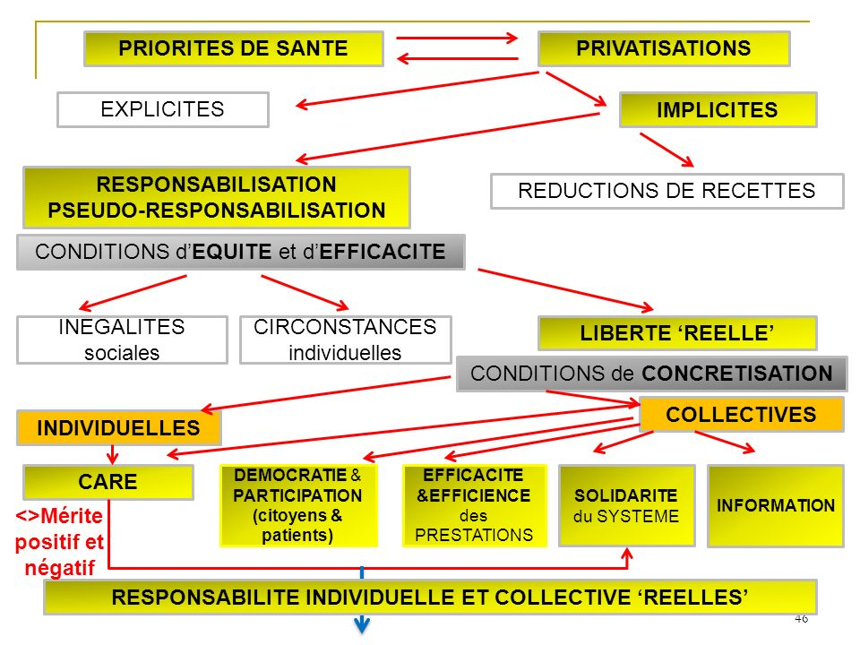 46 INDIVIDUELLES COLLECTIVES SOLIDARITE du SYSTEME INFORMATION CARE LIBERTE REELLE INEGALITES sociales CIRCONSTANCES individuelles DEMOCRATIE & PARTIC