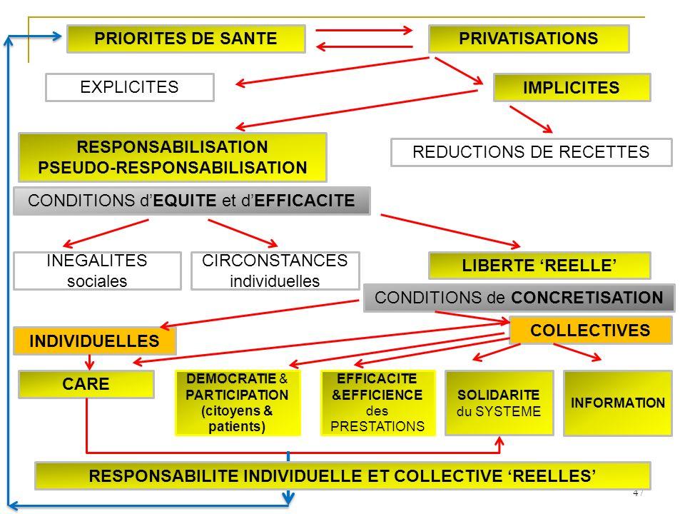 47 INDIVIDUELLES COLLECTIVES SOLIDARITE du SYSTEME INFORMATION CARE LIBERTE REELLE INEGALITES sociales CIRCONSTANCES individuelles DEMOCRATIE & PARTIC