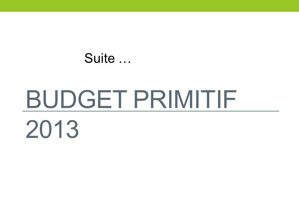 BUDGET PRIMITIF 2013 Suite …
