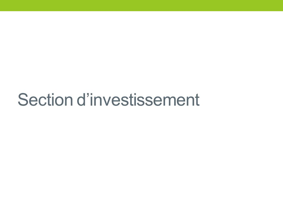Section dinvestissement