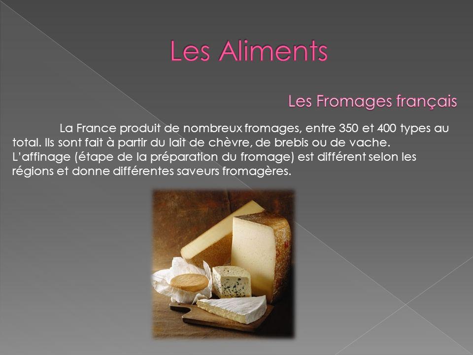 La France produit de nombreux fromages, entre 350 et 400 types au total. Ils sont fait à partir du lait de chèvre, de brebis ou de vache. Laffinage (é