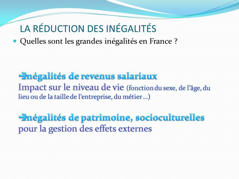 LA RÉDUCTION DES INÉGALITÉS Quelles sont les grandes inégalités en France ?