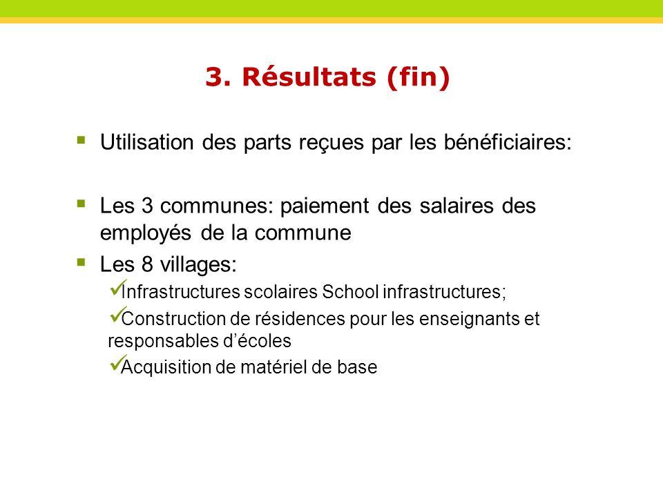 Utilisation des parts reçues par les bénéficiaires: Les 3 communes: paiement des salaires des employés de la commune Les 8 villages: Infrastructures s