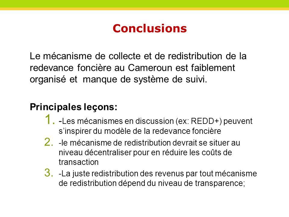 Le mécanisme de collecte et de redistribution de la redevance foncière au Cameroun est faiblement organisé et manque de système de suivi. Principales