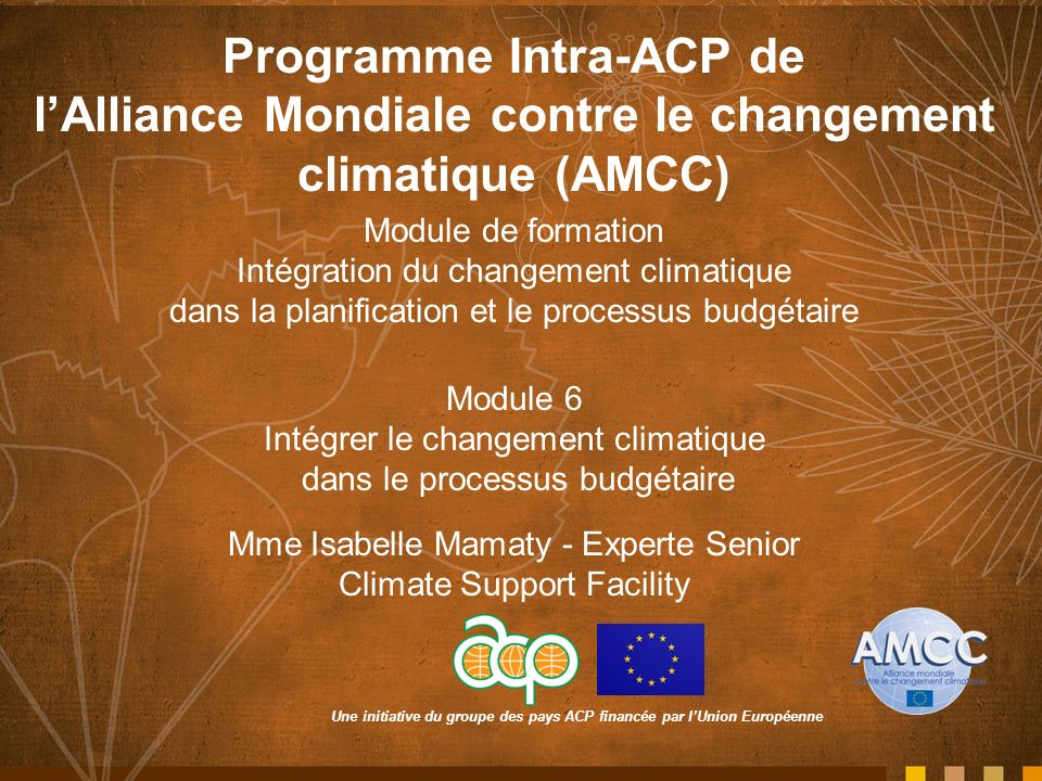 Une initiative du groupe des pays ACP financée par lUnion Européenne Programme Intra-ACP de lAlliance Mondiale contre le changement climatique (AMCC) Module de formation Intégration du changement climatique dans la planification et le processus budgétaire Module 6 Intégrer le changement climatique dans le processus budgétaire Mme Isabelle Mamaty - Experte Senior Climate Support Facility