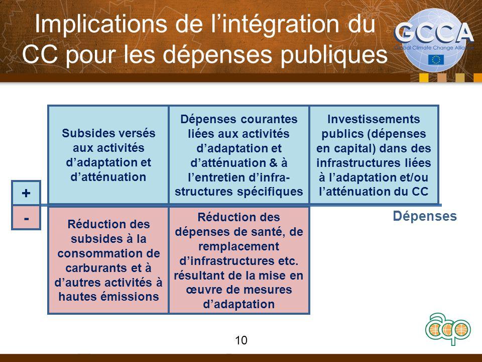 Implications de lintégration du CC pour les dépenses publiques REVENUESREVENUES Dépenses + - Subsides versés aux activités dadaptation et datténuation
