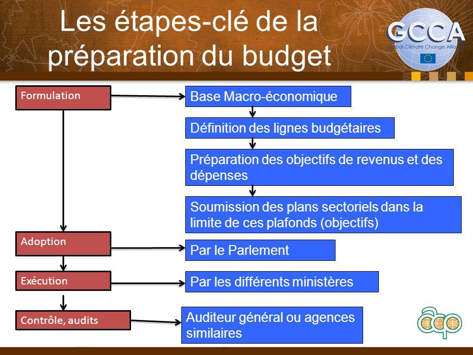 Les étapes-clé de la préparation du budget Formulation Adoption Exécution Contrôle, audits Base Macro-économique Définition des lignes budgétaires Pré