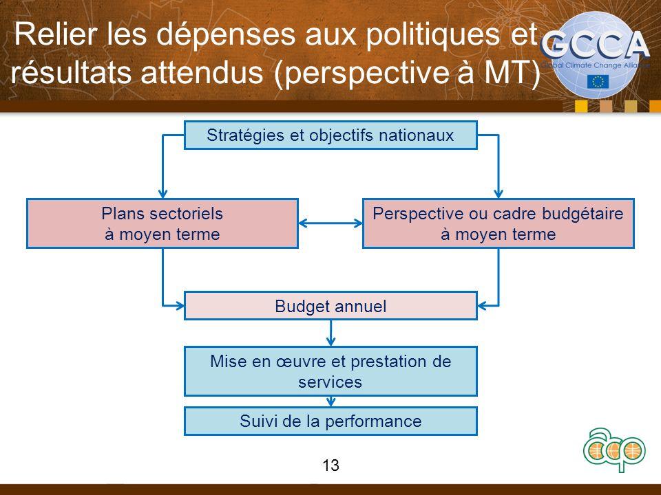 Relier les dépenses aux politiques et résultats attendus (perspective à MT) Stratégies et objectifs nationaux Perspective ou cadre budgétaire à moyen terme Plans sectoriels à moyen terme Budget annuel Mise en œuvre et prestation de services Suivi de la performance 13