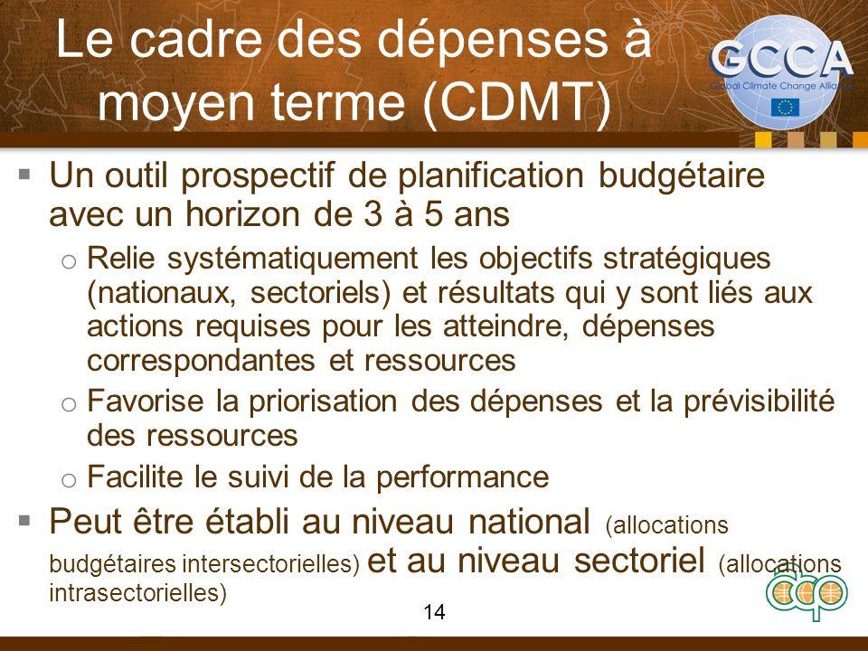 Le cadre des dépenses à moyen terme (CDMT) Un outil prospectif de planification budgétaire avec un horizon de 3 à 5 ans o Relie systématiquement les objectifs stratégiques (nationaux, sectoriels) et résultats qui y sont liés aux actions requises pour les atteindre, dépenses correspondantes et ressources o Favorise la priorisation des dépenses et la prévisibilité des ressources o Facilite le suivi de la performance Peut être établi au niveau national (allocations budgétaires intersectorielles) et au niveau sectoriel (allocations intrasectorielles) 14