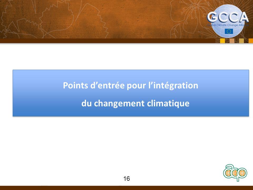 Points dentrée pour lintégration du changement climatique 16