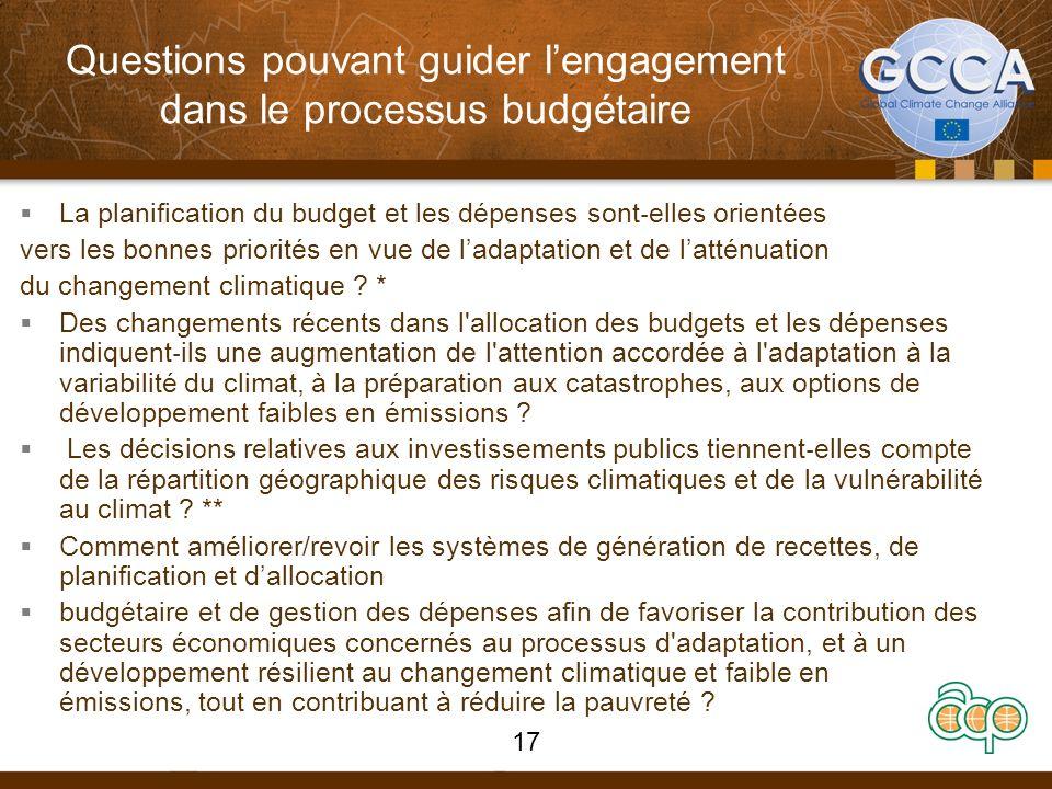 Questions pouvant guider lengagement dans le processus budgétaire La planification du budget et les dépenses sont elles orientées vers les bonnes prio