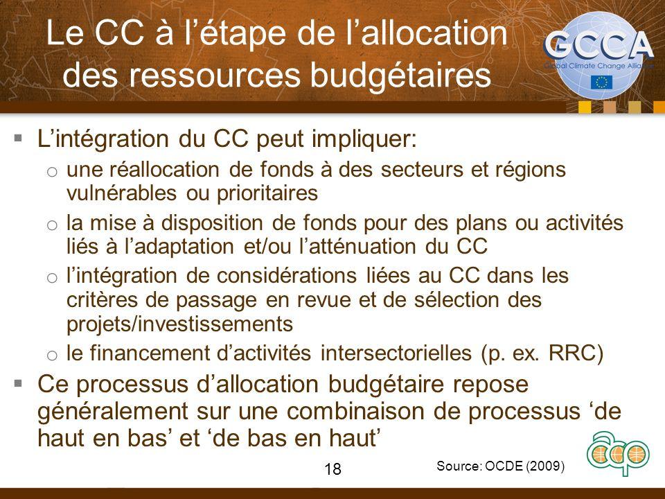 Le CC à létape de lallocation des ressources budgétaires Lintégration du CC peut impliquer: o une réallocation de fonds à des secteurs et régions vuln