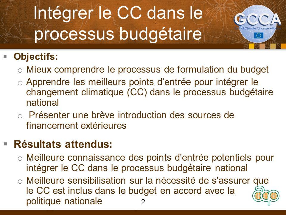 Intégrer le CC dans le processus budgétaire Objectifs: o Mieux comprendre le processus de formulation du budget o Apprendre les meilleurs points dentr