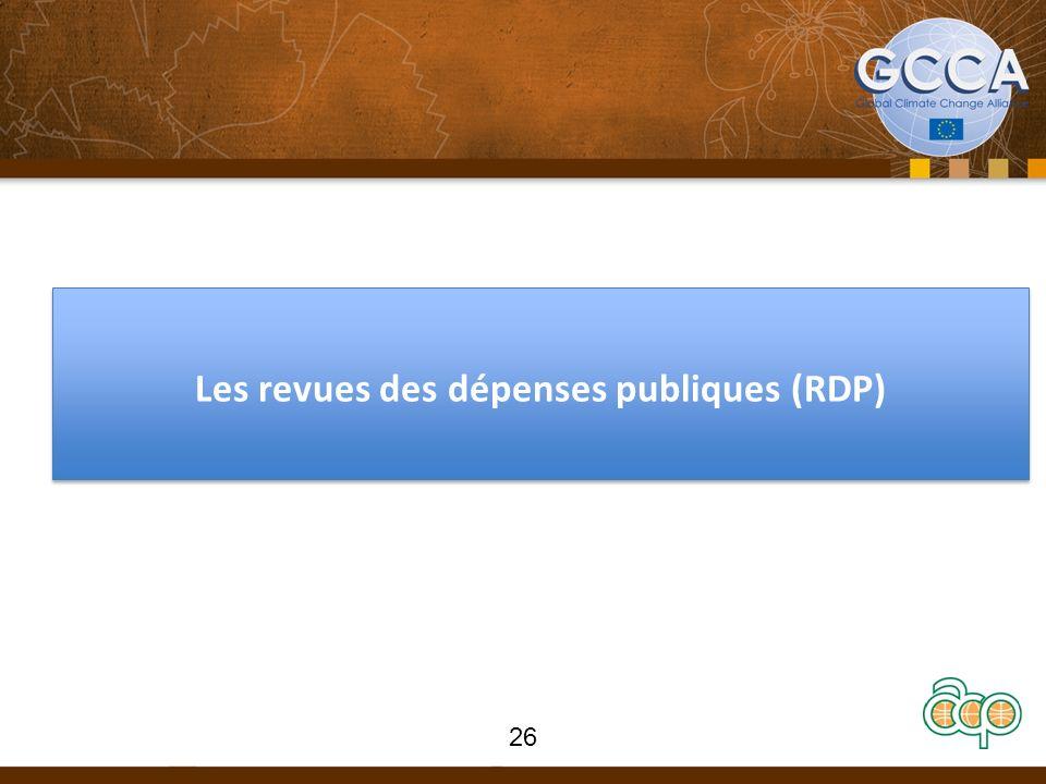 Les revues des dépenses publiques (RDP) 26